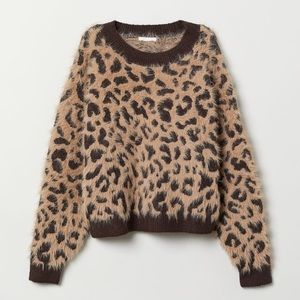 H&M Fuzzy Leopard Print Sweater